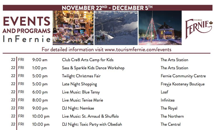 Things to do in Fernie Nov Dec 2019